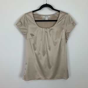 Whbm champagne pintuck shell blouse small